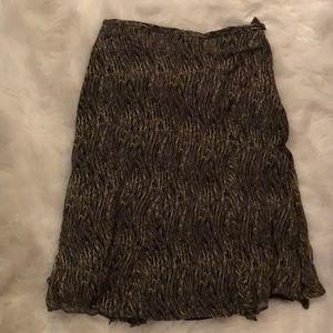 EUC Jones New York brown print silk midi skirt 14